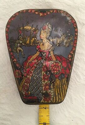 Antique Vintage Tin . Used But Still Beautiful Hand Painted Lid
