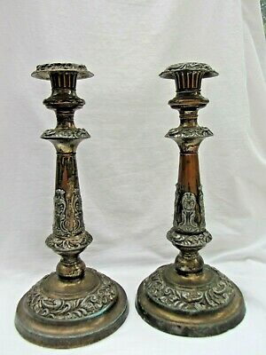 PAIR GEORGE IV OLD SHEFFIELD PLATE CANDLESTICKS c1820 12 Inches Floral