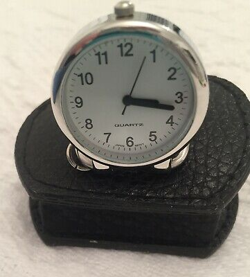 Silver Tone Pocket Watch Style Moni Travel Clock With Its Own Leather Case