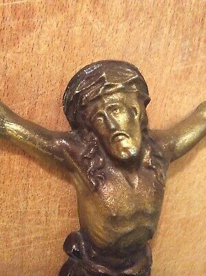 "Antique French Crucifix Jesus Christ Corpus Christi Cross Replacement 10"" Silver"