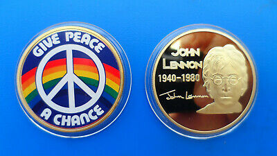JOHN LENNON  - Give Peace A Chance GOLD plated commemorative coin in capsule