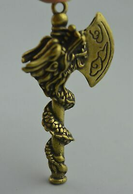Collectable China Handwork Old Copper Carve Dragon Around Axe Auspicious Pendant