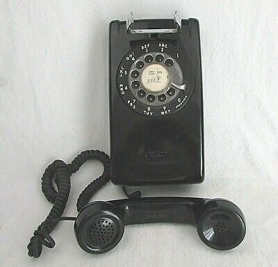 Vintage Black Bell System Western Electric - Rotary Wall Telephone A/B 554