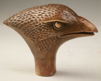 Rare China Bronze Hand-Carved Eagle Head Statue Walking Stick Old Collection