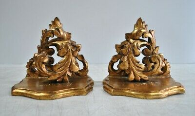 Pair Antique Vintage Hand Carved Gilt Wood Spanish Wall Brackets