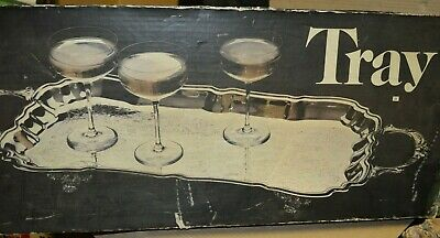 "Vintage Leonard Silver Mfg 26.5"" Silverplated Footed Cocktail Serving Tray"