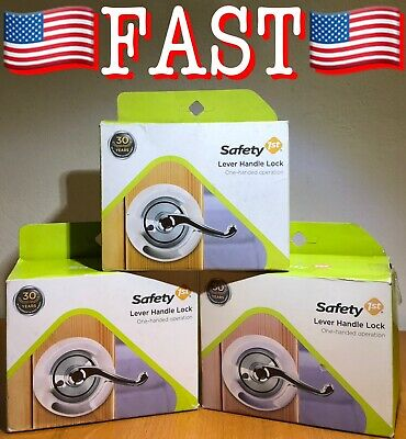 3 PACK Safety 1st French Door Lever Handle Baby Proof Child Lock - One Hand Use