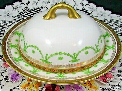 Carlsbad Maria Theresia Green Wreath Turquoise Beaded Butter Dish