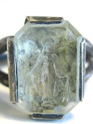 Old Antique Religious Sterling Intaglio Rock Crystal Glass Angel Wax Seal Ring