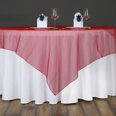 Gold Sheer Organza 72x72 Square Table Overlay Topper Wedding Party Supplies Solid Tablecloths Home Garden