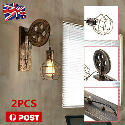 Retro Vintage Light Shade Ceiling Lifting Pulley Industrial Wall Lamp Fixture