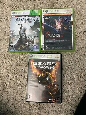 XBOX 360. 3 Game Bundle. Gears Of War, Gears Of War 2, Assassins Creed 3. Tested