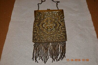 "Antique French Steel FRINGED beautiful  BEADED  Purse . Heavy. 8"" X 4"" + chain"