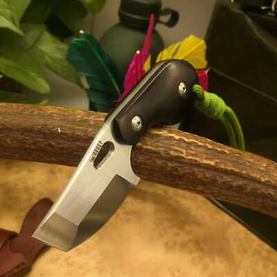 KUBEY Fixed Blade Camping Knife Wood Handle D2 Steel Leather Sheath Outdoor Tool