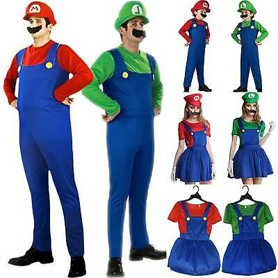 Unisex Adult Kids Super Mario Luigi Bros Cosplay Party Fancy Dress Costume Sets