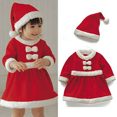 2PCS Toddler Baby Girls Christmas Outfit  Bowknot Dress+Hat Xmas Clothes Set
