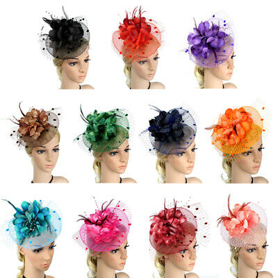 Women Fascinator Hair Clip Feather Wedding Party Vintage Bridal Hairpieces