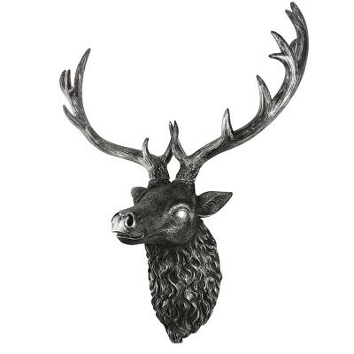 Large Wall Mounted Silver Stag Head Home Art Decoration Animal Deer Head