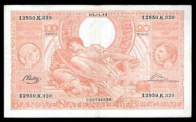 Belgium: National Bank. 100 francs, 04.11.44. 12950.K.320. (Pick 113). GVF.