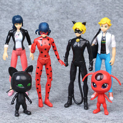 6pcs Miraculous Ladybug Tikki Noir Cat Plagg Adrien Action Figures Doll Toys Set