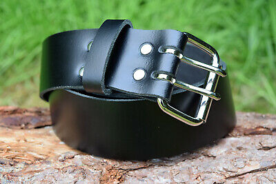 Handmade Genuine Black Leather Belt 2 inch width Two Prong Nickel Plated Buckle