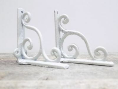 "2 Vintage Antique Style Shelf Wall Brackets Cast Iron Brackets WHITE 4""x4"""