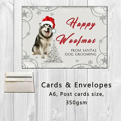 Dog Grooming Groomer Personalised Christmas  Xmas Cards Postcard style