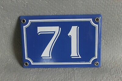 Antique French Traditional Blue & White Enamel Door / House Number 71