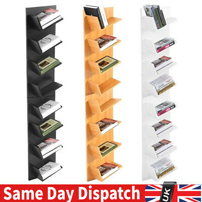 8 Tiers Wood Wall Mount CD Books Shelf Floating Home Storage Rack Display Unit