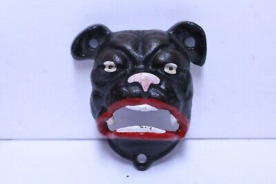 Nice Vintage Cast Iron Wall Mount Mean Dog Face Bottle Opener