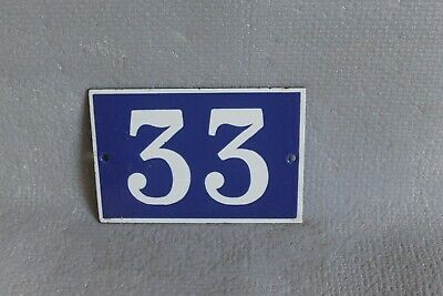 Antique French Traditional Blue & White Enamel Door / House Number 33