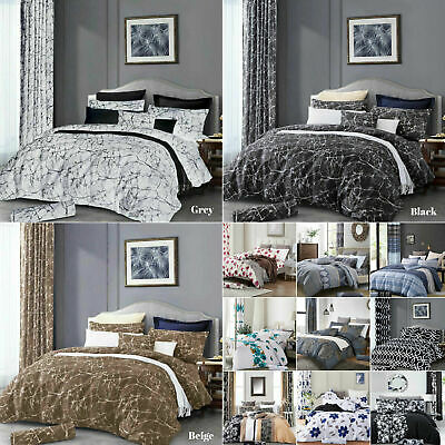 Grey Marble Effect Duvet Cover Quilt Cover Bedding Set Single Double King Size