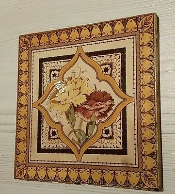 Antique Victorian Floral Fireplace Tile