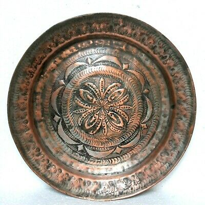 Old 1910s Antique Beautiful Hand Carved Floral Design Big Copper Round Plate #68