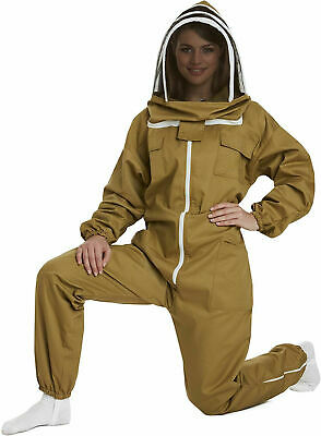 Large Khaki Beekeepers Bee Suit with Fencing Veil - 260gsm cotton
