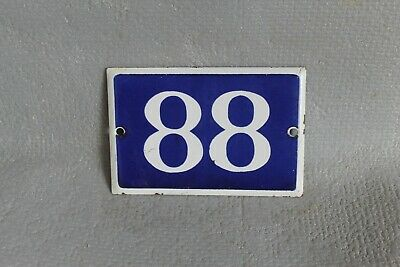 Antique French Traditional Blue & White Enamel Door / House Number 88