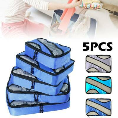 5 Packing Cubes Travel Pouches Luggage Organiser waterproof Suitcase Storage Bag