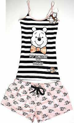 Winnie Pooh Bear PJ Set Disney Pyjamas Primark Vest Shorts Womens UK Sizes 6 to