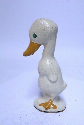 Nice Antique Cast Iron Hubley White Baby Duck Paperweight Doorstop *Repainted*