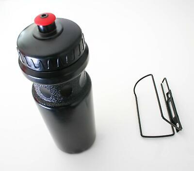 BIKE BOTTLE and HOLDER - Bicycle Cage Rack with FITTINGS INCLUDED (Black 650ml)