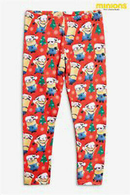 Next Girls Red Christmas Minions Leggings Age 5 Years BNWT Tag £12