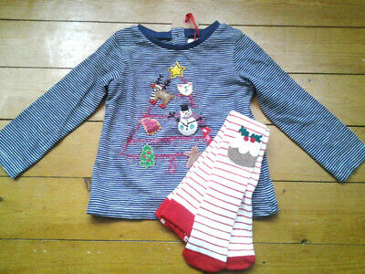 Next Baby Girls Christmas Tree Top & Stripe Tights Age 6-9 Months BNWT