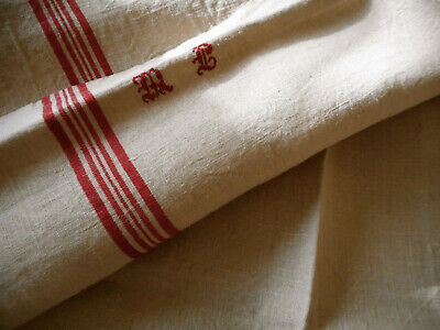 Antique Vtg. French Rustic Towel Linen Fabric Red Ticking Stripe~ Mono MC or  ML