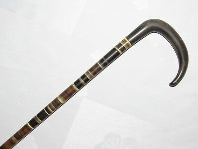 05E37 Antique Cane in Washers Stacked Horn Cowhide Flexible Dandy Xixth