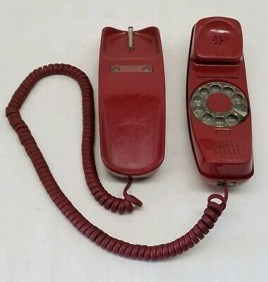 Western Electric Trimline Rotary Red Telephone Phone Bell System Property