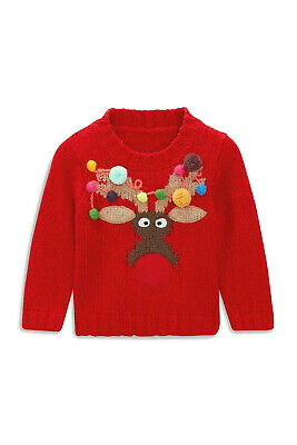 Next Girls/Boys Fun Reindeer Christmas Jumper Age 3 Years BNWT Tag £24