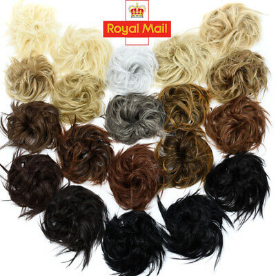 Large Real Thick Messy Bun Hair Piece Scrunchie Updo Style Extension as Human UK