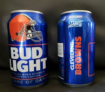 2019 Cleveland Browns Bud Light NFL Beer Cans - Bottom Opened Empty - Qty 2