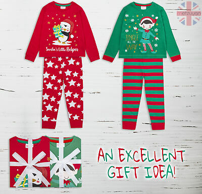 Infant Kids Girls Boys Childrens Cotton Pyjamas Set 2-6 Years PJ Xmas Christmas