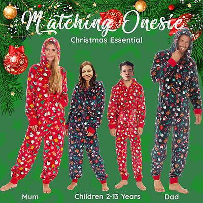 Family Matching Ladies Mens Kids Christmas Jumpsuit All in One Pyjamas Snuggle